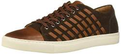 Brothers United Herren Mens Leather Luxury Fashion Sneaker with Woven Detail Turnschuh, Cognac Nappa/braunes Wildleder, 39.5 EU von Brothers United