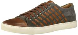 Brothers United Herren Mens Leather Luxury Fashion Sneaker with Woven Detail Turnschuh, Cognac Nappa/graues Wildleder, 38.5 EU von Brothers United