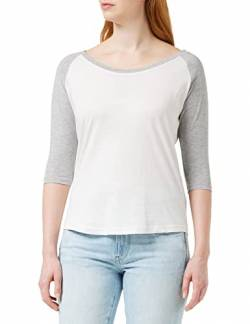 Build Your Brand Damen Ladies 3/4 Contrast Raglan Tee T-Shirt, White/Heather Grey, S von Build Your Brand