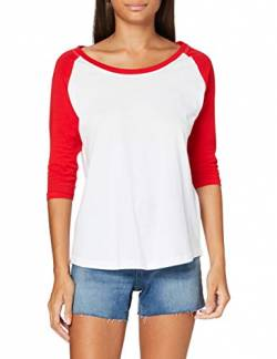 Build Your Brand Damen Ladies 3/4 Contrast Raglan Tee T-Shirt, White/Red, S von Build Your Brand