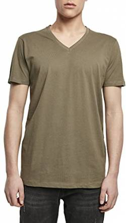Build Your Brand Mens Light V-Neck T-Shirt, Olive, XL von Build Your Brand