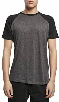 Build Your Brand Mens Raglan Contrast Tee T-Shirt, Charcoal (Heather)/Black, XXL von Build Your Brand