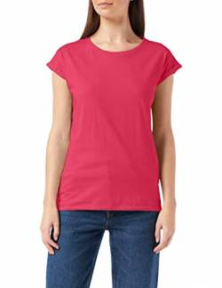 Build Your Brand Womens Ladies Extended Shoulder Tee T-Shirt, Hibiskus pink, 3XL von Build Your Brand