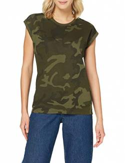 Build Your Brand Womens Ladies Extended Shoulder Tee T-Shirt, Olive camo, XL von Build Your Brand