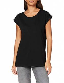 Build Your Brand Womens Ladies Organic Extended Shoulder Tee T-Shirt, Black, M von Build Your Brand