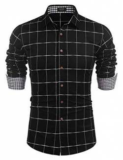 COOFANDY Herren Hemd Langarm Kariert Regular Fit aus Baumwolle Button-Down Business Casual Freizeithemd für Männer Schwarz XL von COOFANDY