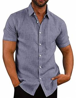COOFANDY Herren Hemden Short Sleeved Slim Fit Polo Poplin Kurzarm Business Freizeit von COOFANDY