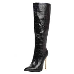COOLCEPT Damen Elegant Stiletto Langschaft Stiefel Reißverschluss High Stiefel Pointed Toe Party Stiefel Snake Print Black Gr 42 Asian von COOLCEPT