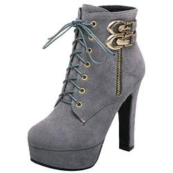 COOLCEPT Damen Schuhe Boots High Heel Short Stiefel Party Buro Herbst Ankle Boots Gray Gr 46 Asian von COOLCEPT
