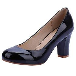 COOLCEPT Women Mode Synthetik Patent Geschlossene Blockabsatz Pumps (46 AS, Black) von COOLCEPT