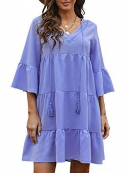 Women's Summer Shift Dress Solid Color Ruffled Tunika Kleid V-Ausschnitt Kurzarm Mini Kleid mit Quaste Krawatte Drawstring,S-Himmelblau,S von CORAFRITZ