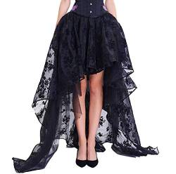 COSWE Damen Röcke Schwarz Punk Irregular Kleid Steampunk Cocktail Chiffon Spitze Party Rock Cosplay von COSWE