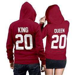 King Queen + Wunschnummer Set 2 Hoodies Pullover Pulli Liebe Love Pärchen Couple Cherry Red (King Gr. L + Queen Gr. M) von CVLR