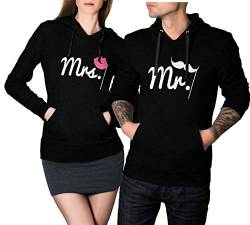 Mr Mrs Hoodie Sweatshirt Pullover Partner Pärchen Look Love Couple XS - 3XL (Mr XL + Mrs M) von CVLR