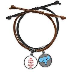 "Armband mit rotem Zitat ""Keep Calm and Carry On"" aus Leder, Elefanten-Armband von CaoGSH"