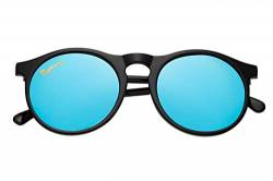 Capraia Arilla Classic Round Vintage Sunglasses Ultra Light High Quality TR90 Shiny Black Frame and Blue Mirrored Polarised Lenses UV400 protected Mens Womens von Capraia