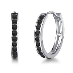 Creolen Ohrringe 925 Sterling Silber mit Zirkonia Sleeper Hoop Earrings Huggie Kreolen Ohrschmuck für Damen, Durchmesser 18 mm - Schwarz von Carleen