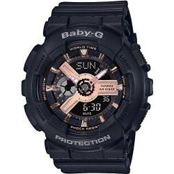 CASIO Damen Analog-Digital Quarz Uhr mit Harz Armband BA-110RG-1AER von Casio