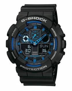 Casio G-Shock Analog-Digital Herrenarmbanduhr GA-100 blau schwarz, 20 BAR GA-100-1A2ER von Casio