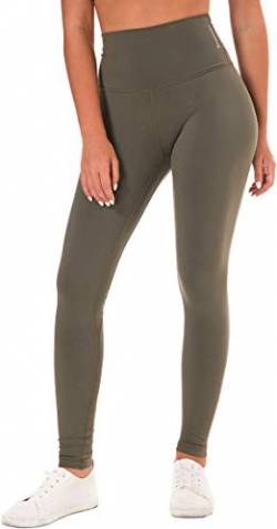 Chaos World Sporthose Damen High Waist Sport Leggings Elastische Tummy Control Yogahose Jogginghosen (Grün,L/Tag 10) von Chaos World