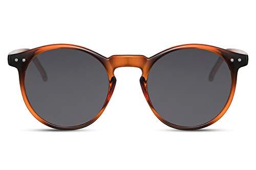 Cheapass Sonnenbrille Rund Verspiegelt UV-400 Hipster Plastik Damen Herren