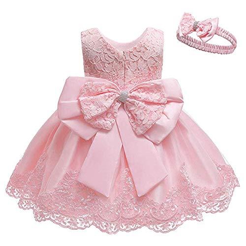 Bmeigo Baby M/ädchen Taufkleid Infant Babybekleidung Spitze Prinzessin Festlich Formal Hochzeit Kleid Kurze /Ärmel mit Bonnet