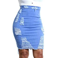 Cicilin Damen Jeansrock Sexy Denim Röcke High Waist Sommer Rock Zerrissen Loch Bleistiftrock Knielang Stretch Skirt Party Club Hell Blau DE M (Asie L) von Cicilin