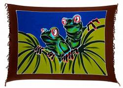 Ciffre Sarong Pareo Wickelrock Dhoti Lunghi Tuch Strandtuch Wandbehang Bali Frosch von Ciffre