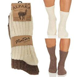 Alpaka Herren Damen Socken, extra warme Winterstrümpfe, Wollsocken Wintersocken Natur 17 (35-38, Beige/Dunkelbraun) von Cleostyle Collection