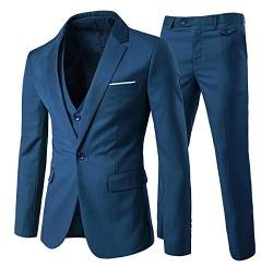 Slim Fit  3-Teilig Business Herrenanzug ein Knopf Smoking,Blau, Gr. L von Allthemen