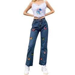 Cocila Schmetterling Stickerei Damenjeans, High Waist Gerade Wide Leg Hose, Fashion 90er Jahre Baggy Jeans Y2K Hohe Taille Slim Pants von Cocila