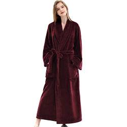 Comcrib Damen Herren Bademäntel Flanell Warmer Winter Bademantel Weicher Saunamantel Morgenmantel Winter Damen Herren Robe von Comcrib