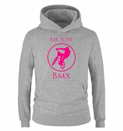 Comedy Shirts - EAT. Sleep. BMX - Kinder Hoodie - Grau/Pink Gr. 152/164 von Comedy Shirts