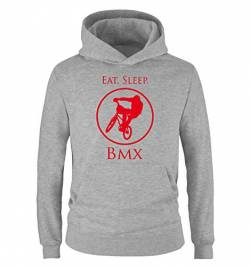 Comedy Shirts - EAT. Sleep. BMX - Kinder Hoodie - Grau/Rot Gr. 152/164 von Comedy Shirts