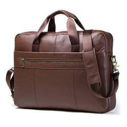 "Contacts Mens Genuine Leather Crossbody 15.6"" Laptop Ipad Bag Office Briefcase Handbag Brown von Contacts"