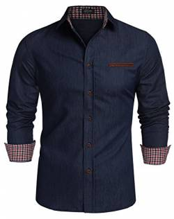 Coofandy Jeanshemden Herren regular fit Denim Shirt Langarmhemd Cowboy-Style Freizeit Hemden , Farbe - Ultramarin , Gr. M von Coofandy