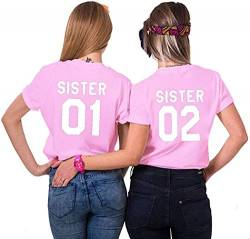 Best Friends BFF Damen Kurzarm T-Shirt (Rosa - Sister 02, XS) von Couples Shop