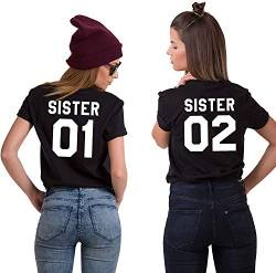 Best Friends BFF Damen Kurzarm T-Shirt (Schwarz - Sister 02, XS) von Couples Shop