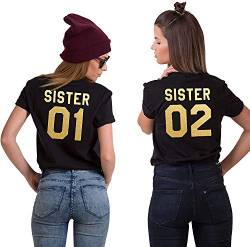 Best Friends BFF Damen Kurzarm T-Shirt (Gold - Sister 01, XL) von Couples Shop