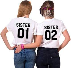 Best Friends BFF Damen Kurzarm T-Shirt (Weiß - Sister 02, S) von Couples Shop