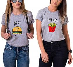 Best Friends Damen T-Shirt BFF Beste Freunde Burger und Pommes (Grau, Burger XS) von Couples Shop