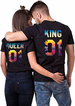 King Queen T-Shirt Set für Paar Tropic Auflage König Königin Partner Look Pärchen Shirt Geburtstagsgeschenk (Queen Damen Schwarz L) von Couples Shop