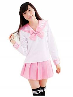 Crazy lin Schöne Japan Schuluniform Studenten Uniform Set Matrosenanzug Cosplay Kostüme (Rosa, M) von Crazy lin