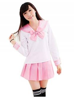 Crazy lin Schöne Japan Schuluniform Studenten Uniform Set Matrosenanzug Cosplay Kostüme (Rosa, S) von Crazy lin