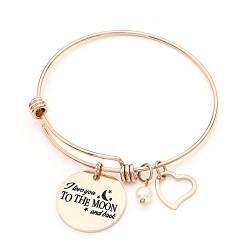 Cupimatch Damen Armband Edelstahl Mit Gravur I Love You to The Moon and Back Verstellbar Armkette von Cupimatch