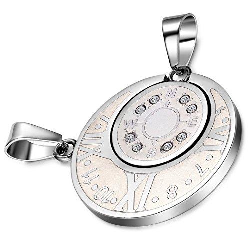 Kompass Kette in Silberfarbe Halskette Kompass Anhänger Modeschmuck Edelstahl