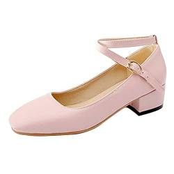 CuteFlats Damen Dress Blockabsatz Pumps Datierung Schuhe (Rosa, 40 EU) von CuteFlats