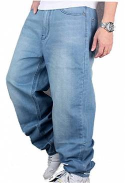 CYSTYLE Herren Jeanshose Baggy Jeans Denim Straight Leg Loose Fit in Hellbalu von CYSTYLE