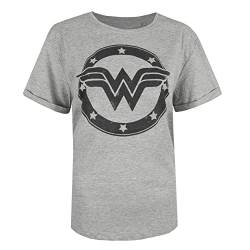 DC Comics Damen Wonder Woman Metallic Logo T-Shirt, Grau (Sport Grey SPO), 38 (Herstellergröße: Medium) von DC Comics