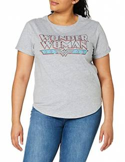 DC Comics Damen Wonder Woman Retro T-Shirt, Grau (Sport Grey SPO), 38 (Herstellergröße: Medium) von DC Comics